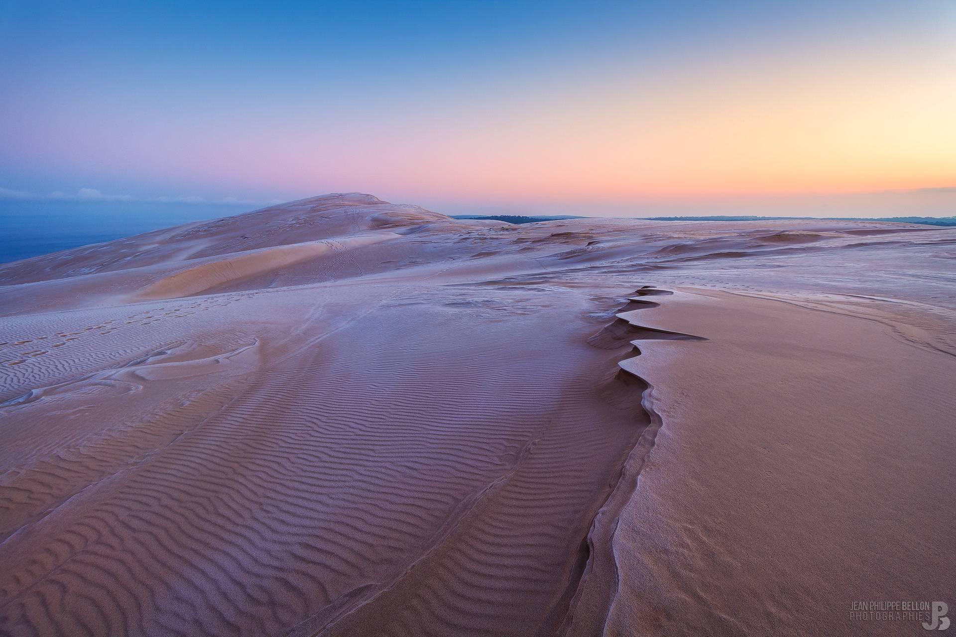Lever de soleil sur la Dune du Pilat gelée