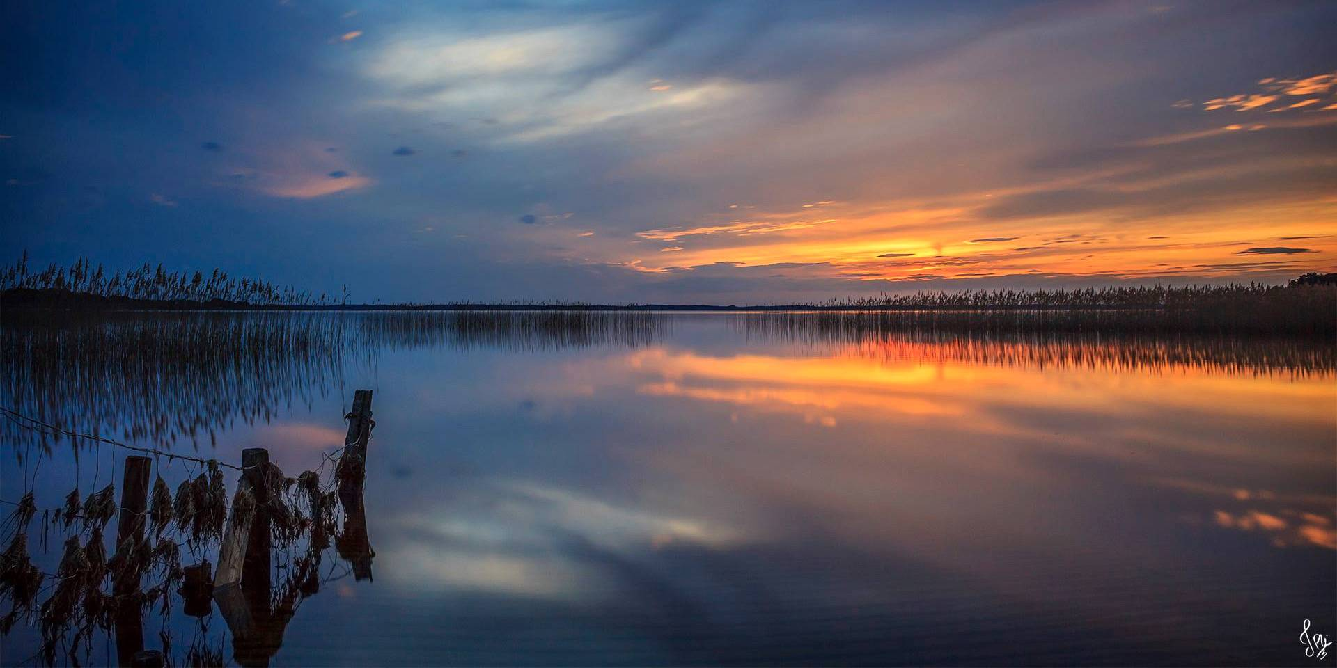 Reflet du coucher du soleil au Lac de Sanguinet